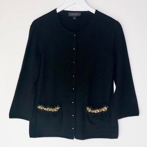 ST. JOHN. 100% cashmere button up cardigan sweater